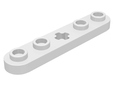 White Technic, Plate 1 x 5 with Smooth Ends, 4 Studs and Center Axle Hole