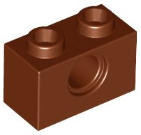 Reddish Brown Technic, Brick 1 x 2 with Hole