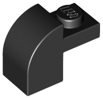 Black Slope, Curved 2 x 1 x 1 1/3 with Recessed Stud