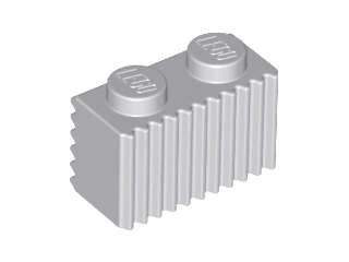 Light Bluish Gray Brick, Modified 1 x 2 with Grille (Flutes)