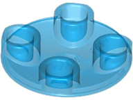Trans-Dark Blue Plate, Round 2 x 2 with Rounded Bottom (Boat Stud)