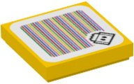 Yellow Tile 2 x 2 with Groove with Super Mario Scanner Code Lava Bubble Pattern (Sticker)