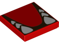 Red Tile 2 x 2 with Groove with White Teeth and Tongue Pattern