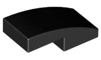 Black Slope, Curved 2 x 1 No Studs