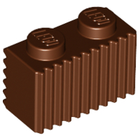 Reddish Brown Brick, Modified 1 x 2 with Grille (Flutes)