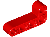 Red Technic, Liftarm 2 x 4 L-Shape Thick