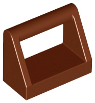 Reddish Brown Tile, Modified 1 x 2 with Handle