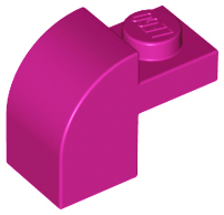 Magenta Brick, Modified 1 x 2 x 1 1/3 with Curved Top