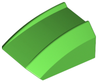 Bright Green Slope, Curved 2 x 2 Lip, No Studs