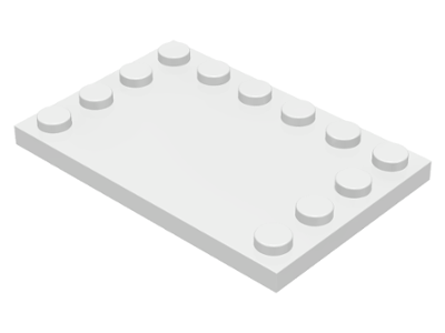 White Tile, Modified 4 x 6 with Studs on Edges