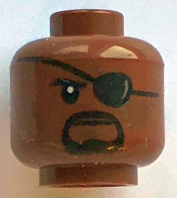 Reddish Brown Minifigure, Head Male Eyepatch with Reflection, Black Goatee and Cheek Lines Pattern &