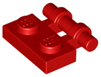 Red Plate, Modified 1 x 2 with Handle on Side - Free Ends