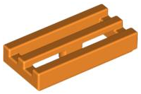 Orange Tile, Modified 1 x 2 Grille with Bottom Groove / Lip