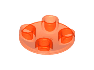 Trans-Neon Orange Plate, Round 2 x 2 with Rounded Bottom (Boat Stud)