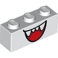 White Brick 1 x 3 with Open Mouth Smile with Teeth and Tongue Pattern (Boo)