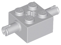 Light Bluish Gray Brick, Modified 2 x 2 with Pins and Axle Hole