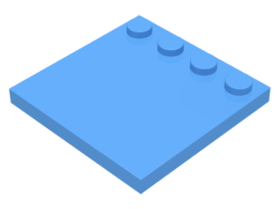 Medium Blue Tile, Modified 4 x 4 with Studs on Edge