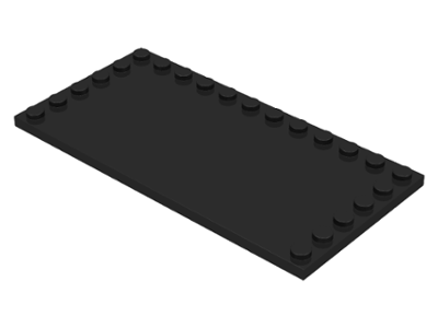 Black Tile, Modified 6 x 12 with Studs on Edges