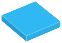 Dark Azure Tile 2 x 2 with Groove