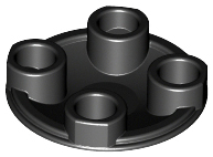 Black Plate, Round 2 x 2 with Rounded Bottom (Boat Stud)