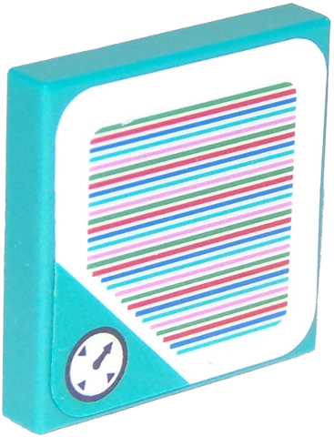 Dark Turquoise Tile 2 x 2 with Groove with Super Mario Scanner Code Timer Pattern (Sticker)