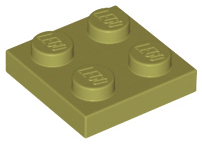 Olive Green Plate 2 x 2
