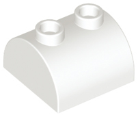 White Slope, Curved 2 x 2 x 1 Double with Two Studs