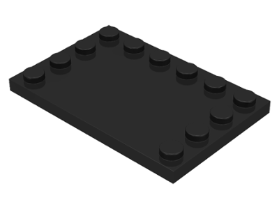 Black Tile, Modified 4 x 6 with Studs on Edges