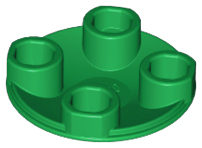 Green Plate, Round 2 x 2 with Rounded Bottom (Boat Stud)