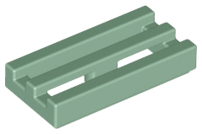 Sand Green Tile, Modified 1 x 2 Grille with Bottom Groove / Lip