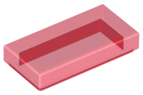 Trans-Red Tile 1 x 2 with Groove