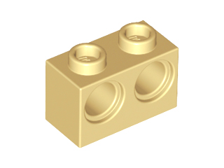 Tan Technic, Brick 1 x 2 with Holes