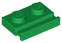 Green Plate, Modified 1 x 2 with Door Rail