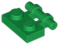 Green Plate, Modified 1 x 2 with Handle on Side - Free Ends