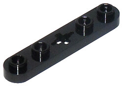 Black Technic, Plate 1 x 5 with Smooth Ends, 4 Studs and Center Axle Hole