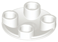White Plate, Round 2 x 2 with Rounded Bottom (Boat Stud)