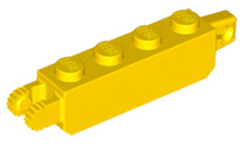 Yellow Hinge Brick 1 x 4 Locking with 1 Finger Vertical End and 2 Fingers Vertical End