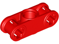 Red Technic, Axle and Pin Connector Perpendicular 3L with Center Pin Hole