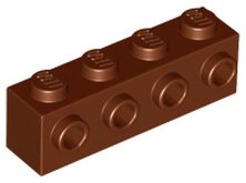 Reddish Brown Brick, Modified 1 x 4 with 4 Studs on 1 Side