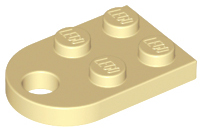 Tan Plate, Modified 3 x 2 with Hole