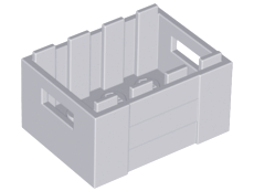 Light Bluish Gray Container, Crate 3 x 4 x 1 2/3 with Handholds