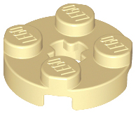 Tan Plate, Round 2 x 2 with Axle Hole