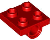 Red Plate, Modified 2 x 2 with Pin Holes