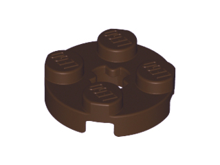 Dark Brown Plate, Round 2 x 2 with Axle Hole