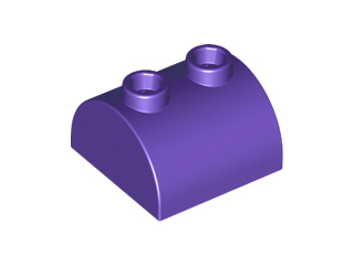 Dark Purple Brick, Modified 2 x 2 Curved Top with 2 Top Studs
