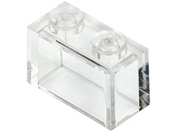 Trans-Clear Brick 1 x 2 without Bottom Tube