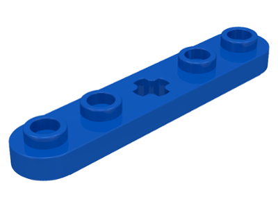Blue Technic, Plate 1 x 5 with Smooth Ends, 4 Studs and Center Axle Hole