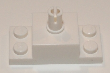 White Brick, Modified 2 x 2 with Top Pin and 1 x 2 Side Plates