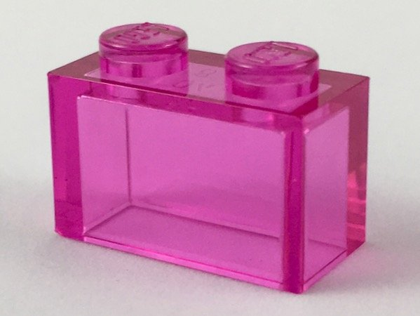 Trans-Dark Pink Brick 1 x 2 without Bottom Tube