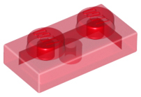 Trans-Red Plate 1 x 2